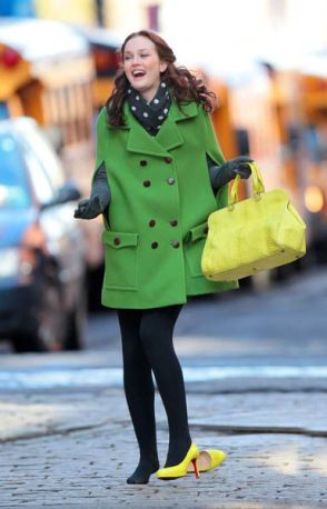 Leighton Meester is all smiles when she trips when walking in yellow high heels while wearing a green peacoat on the set of 'Gossip Girl' in Brooklyn, NYC Pictured: Leighton Meester Ref: SPL161512 010310 Picture by: Jackson Lee / Splash News Splash News and Pictures Los Angeles: 310-821-2666 New York: 212-619-2666 London: 870-934-2666 photodesk@splashnews.com